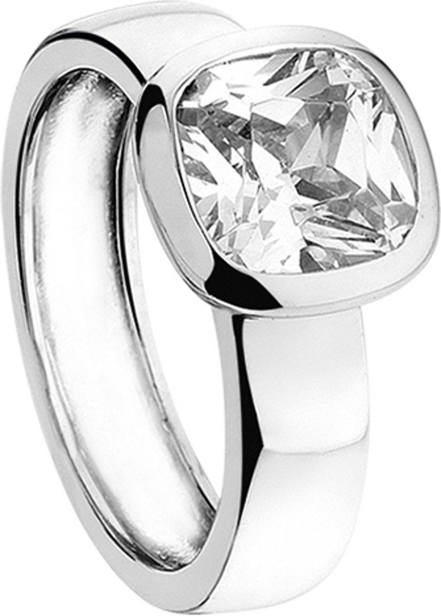 New Bling 943282876-56 - Zilveren Ring - met vierkante Zirkonia - 8 mm - Zilverkleurig kopen
