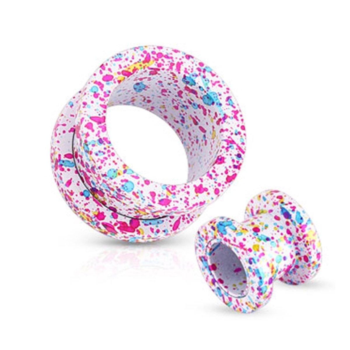 5 mm Screw-fit tunnel wit met roze, blauw, gele spetter ©LMPiercings kopen