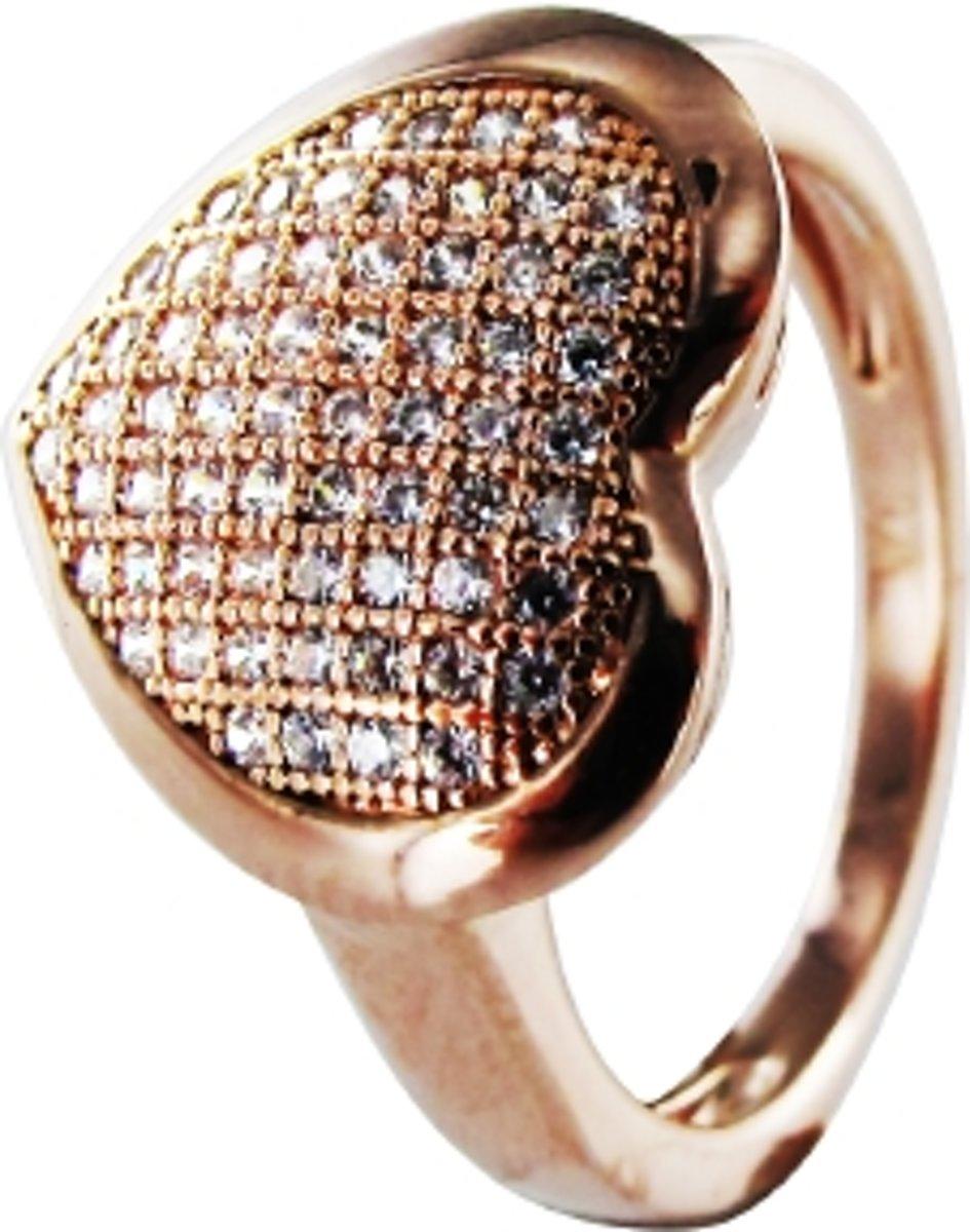 Silventi 943283267-54 Zilveren ring - Hart zirkonia - Rosékleurig kopen
