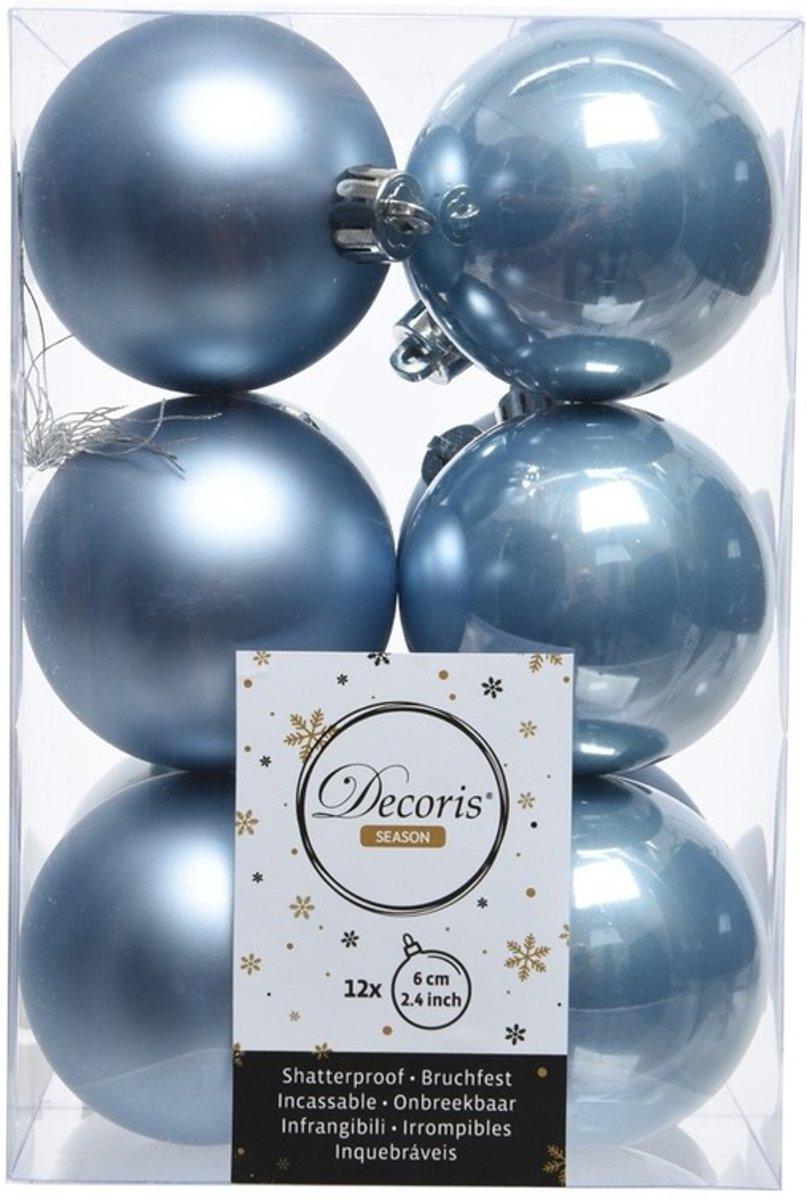 IJsblauwe kerstversiering kerstballen kunststof 6 cm kopen