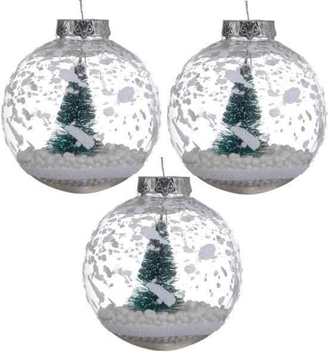 Kerstballen Transparant Met Kerstboom (8cm) Box 3 Stuks Clear kopen