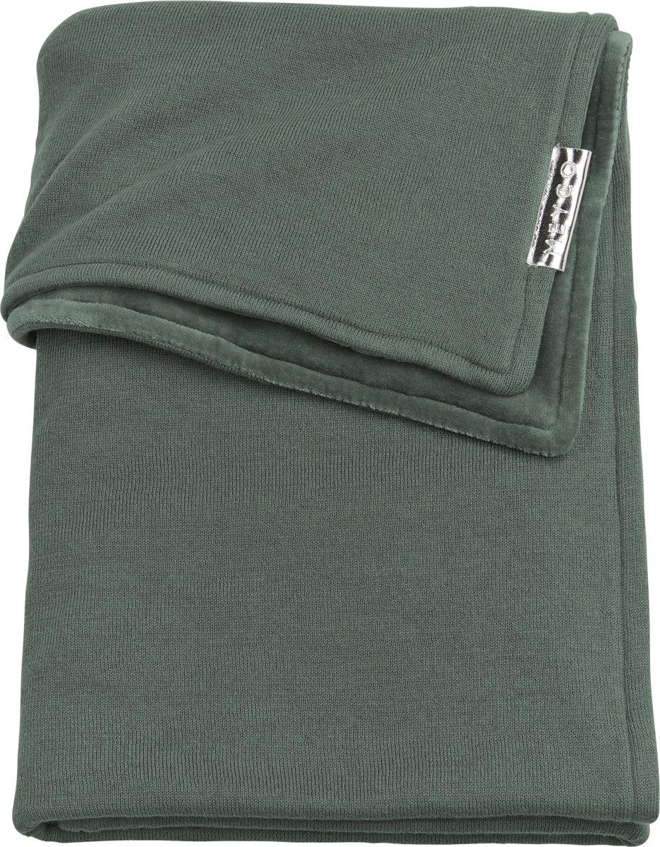 Meyco ledikantdeken Knit basic met velvet - 100x150 cm - forest green