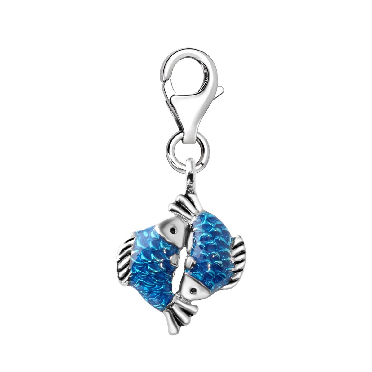 Quiges - Charm Bedel Hanger 3D Vissen Blauw - Dames - zilverkleurig - QHC136 kopen