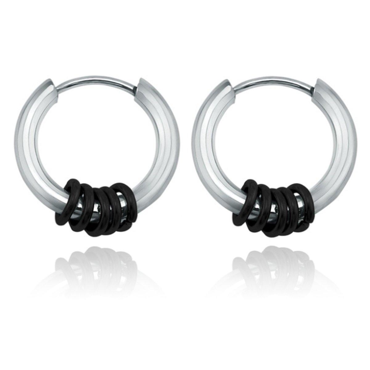 Stalen creolen Flexible Rings-Zwart kopen