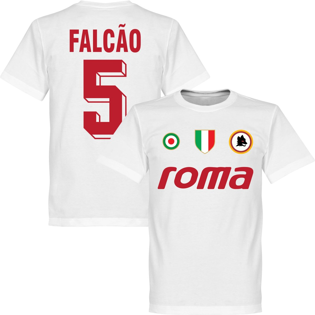 AS Roma Falcao 5 Team T-Shirt - Wit - XS