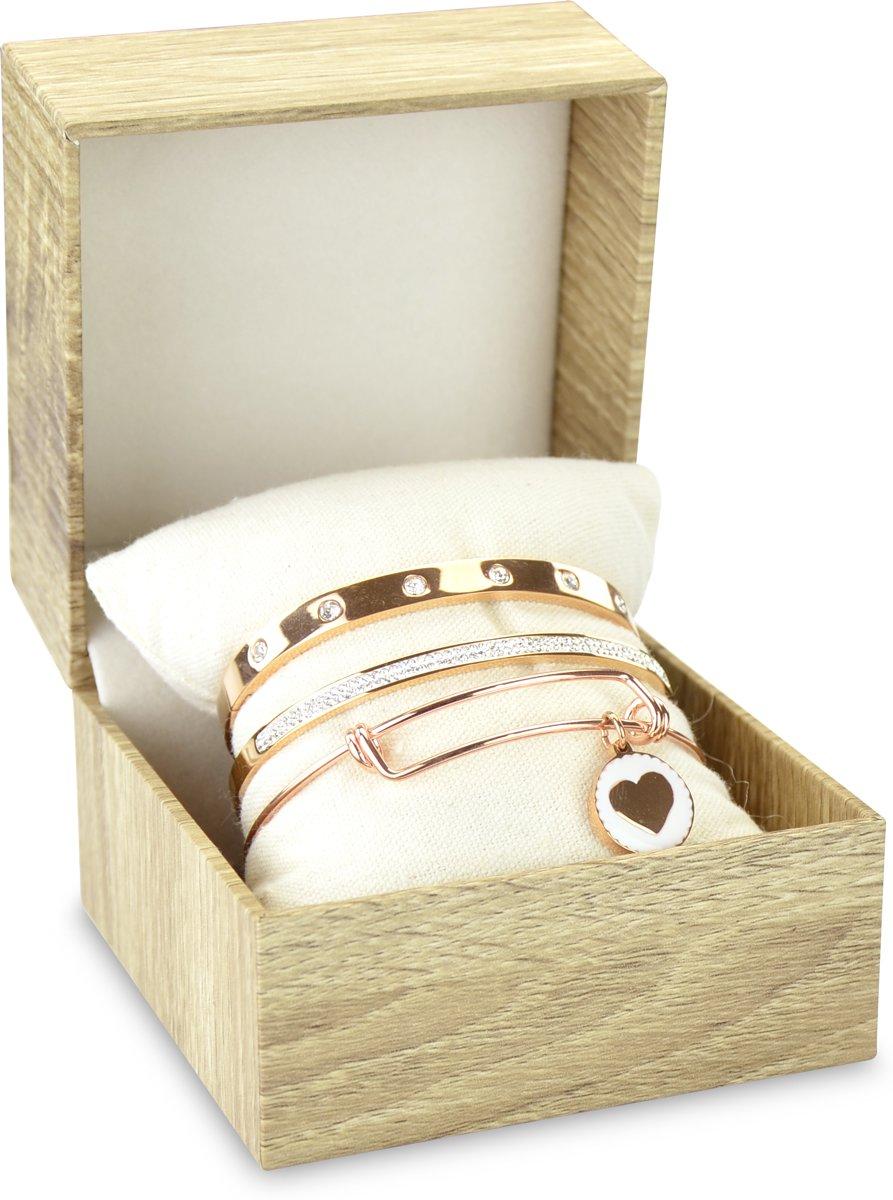 CO88 Collection Gift Set 8CO SET017 Sieraden Geschenkset - Armbanden Set 3 Stuks - Staal - Rosékleurig kopen