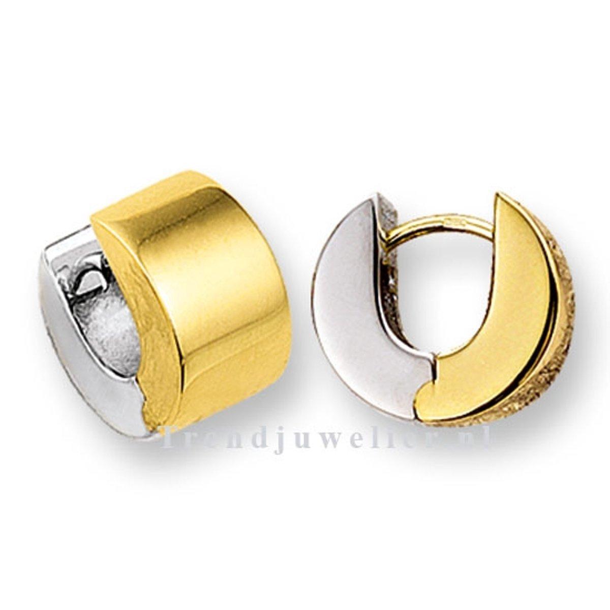 Huiscollectie 4203294 Bicolor gouden oorringen breed kopen