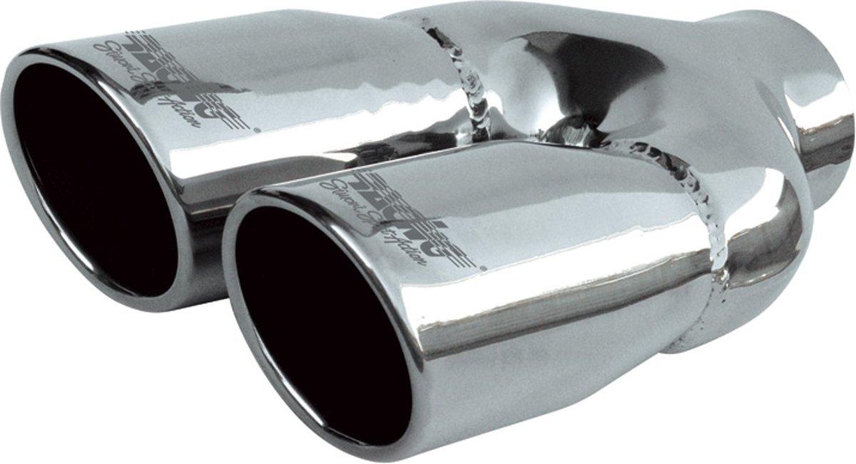 Simoni Racing Uitlaatsierstuk Dubbel Rond/Schuin RVS - Ø76xL230mm - Montage -58mm kopen