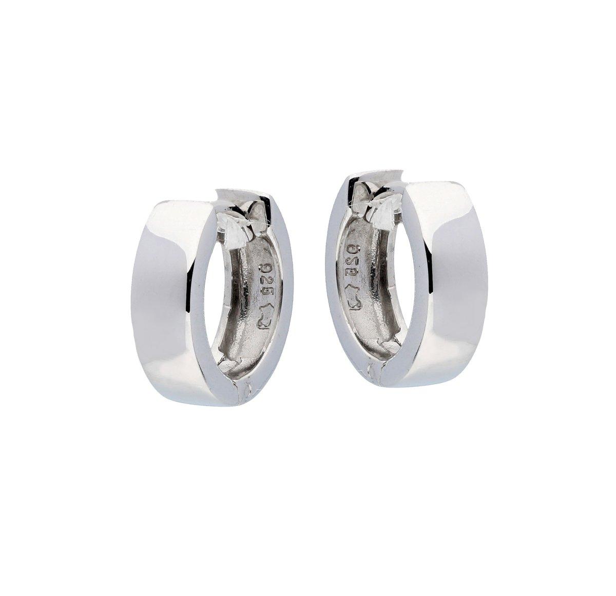 Classics&More klap-oorringen - zilver - vierkante buis 4 mm - 14 mm - gerodineerd kopen