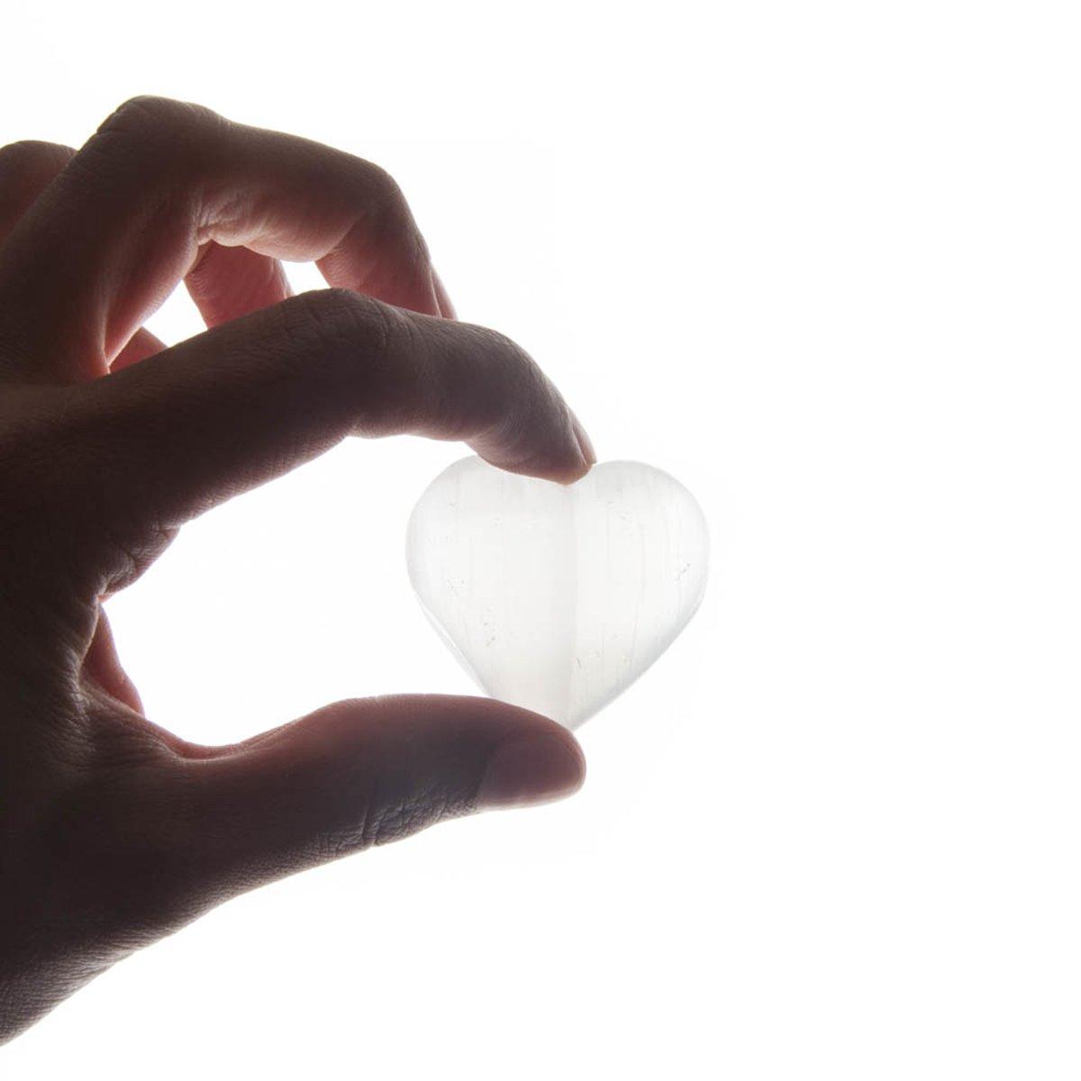 Hart knuffelstenen Seleniet - wit - Per stuk kopen