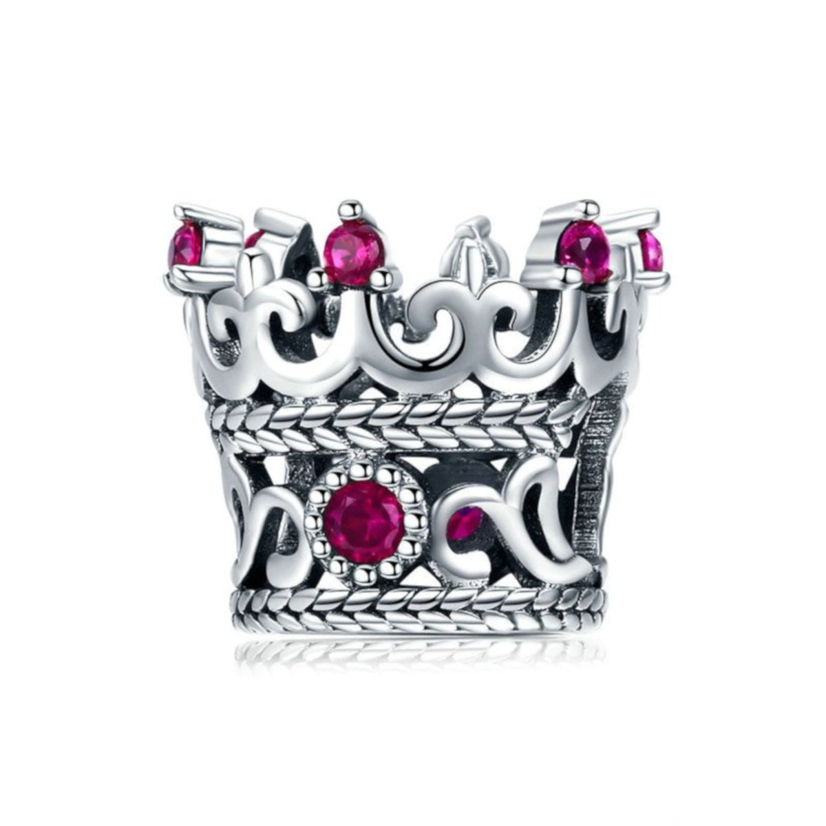 Zilveren bedel Kroon van de Koningin roze kopen