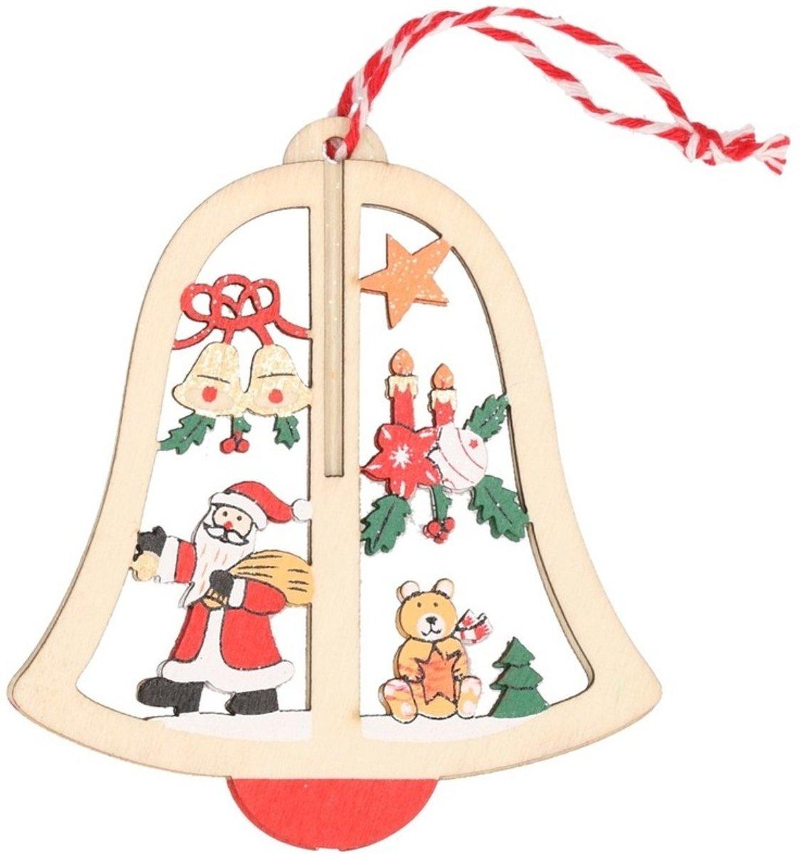 Houten bel met kerstman kerstversiering hangdecoratie 10 cm kopen