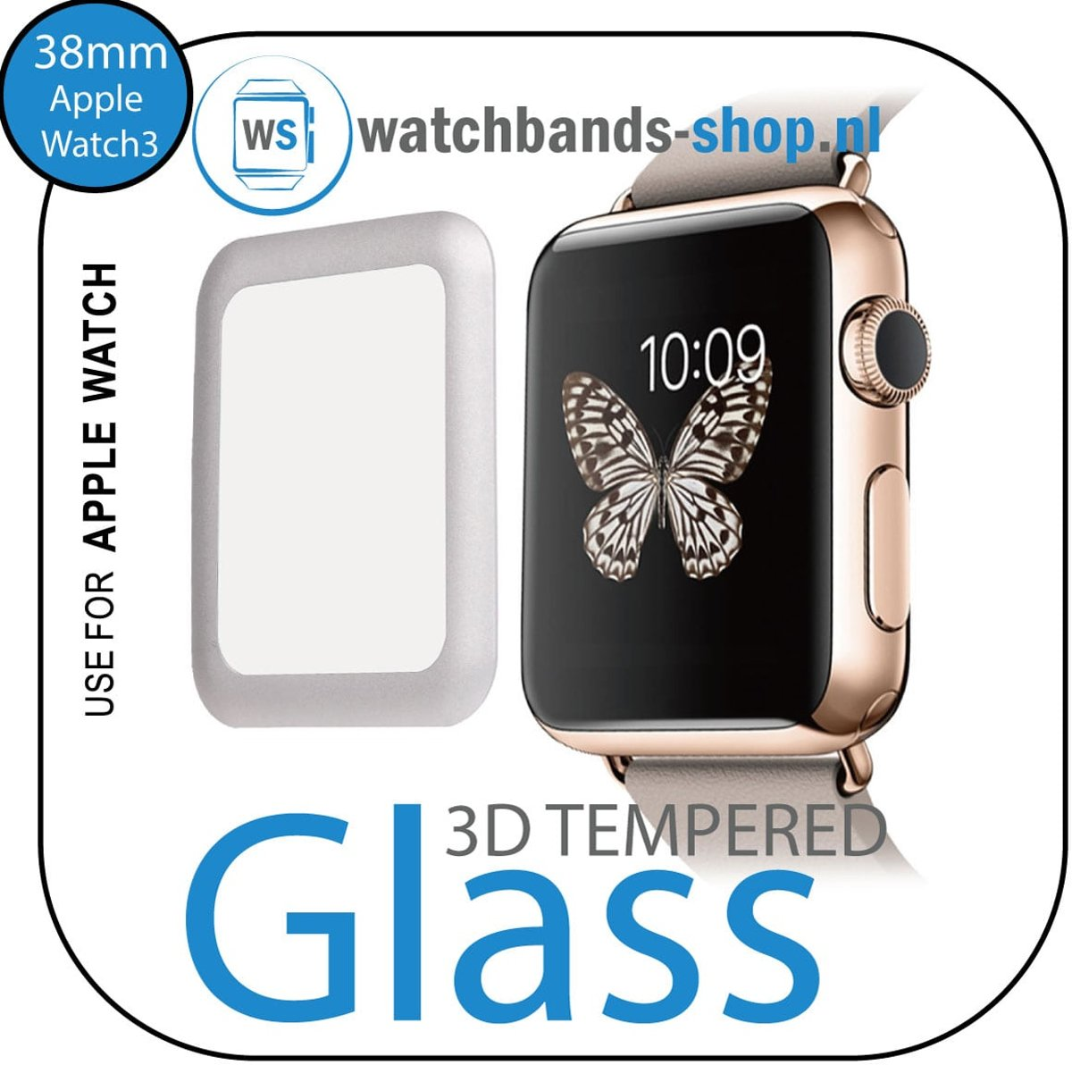 Watchbands-shop.nl 38mm full Cover 3D Tempered Glass Screen Protector For Apple watch / iWatch 3 silver edge kopen