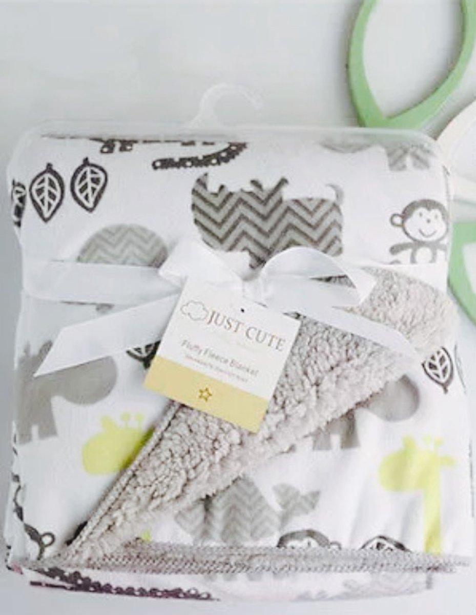 Baby deken met teddy grijs-geel