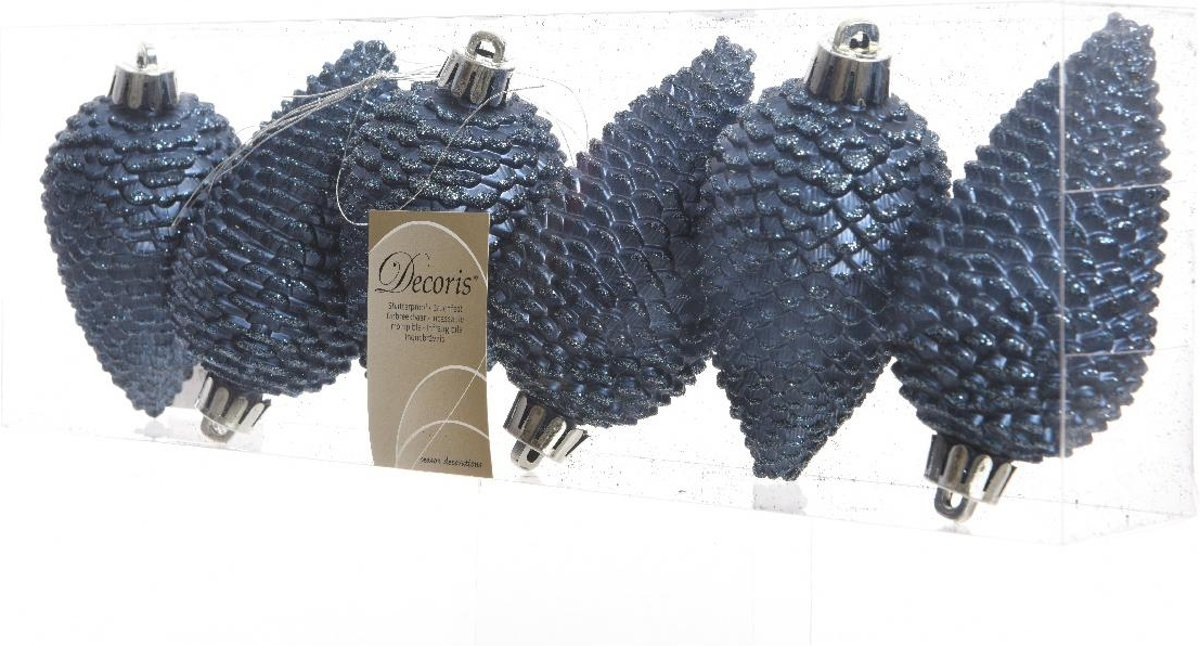 Dennenappels Glitter (8cm) Multi 6 Stuks Night Blue kopen