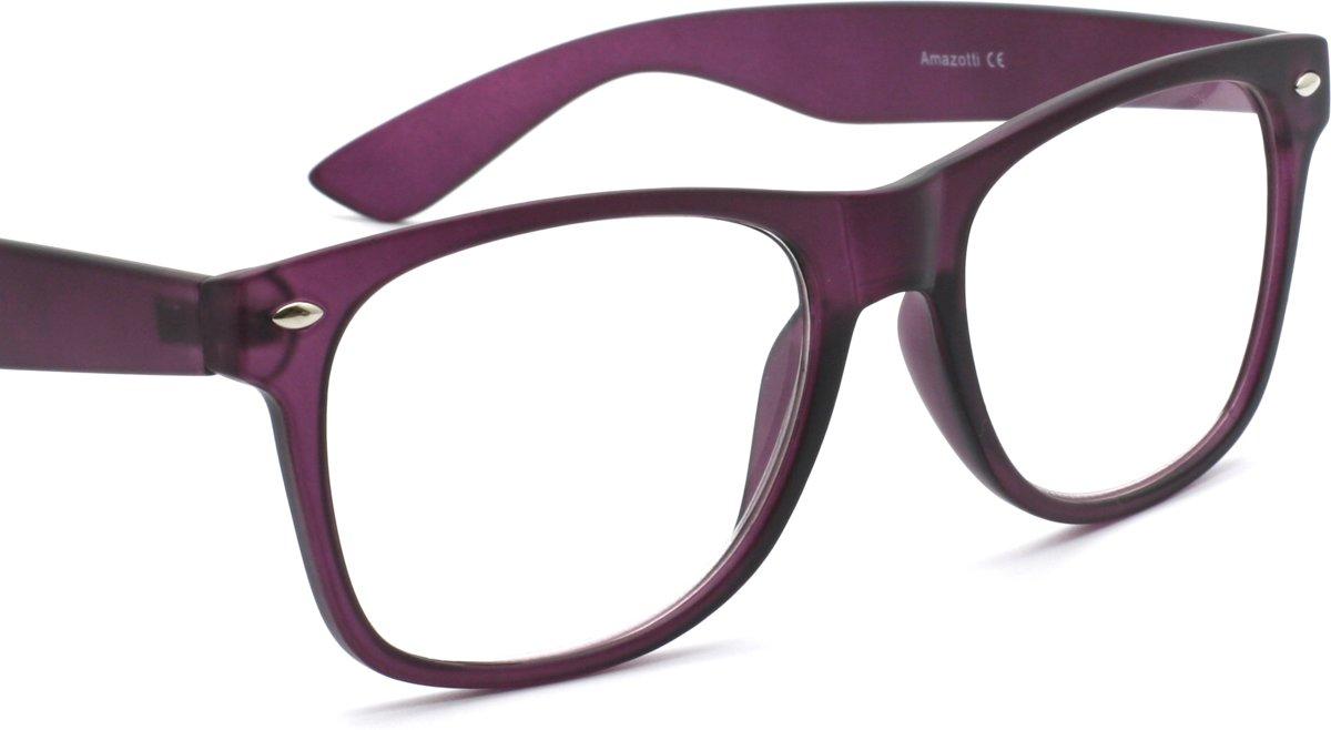 Amazotti Wayfarer Stijl Leesbril – Donker Paars - Sterkte +2.50 kopen