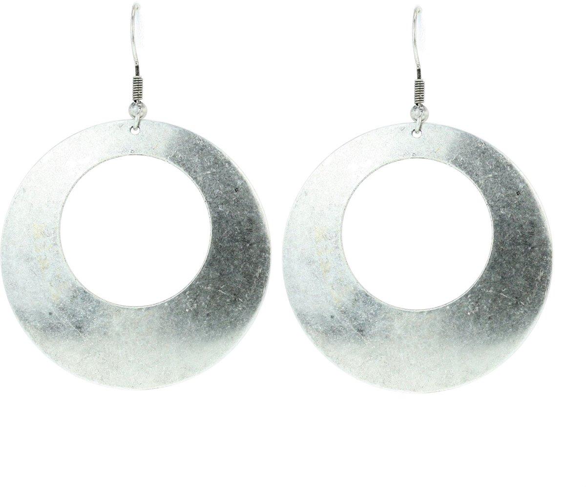 Basic oorhanger mat zilverkleur kopen