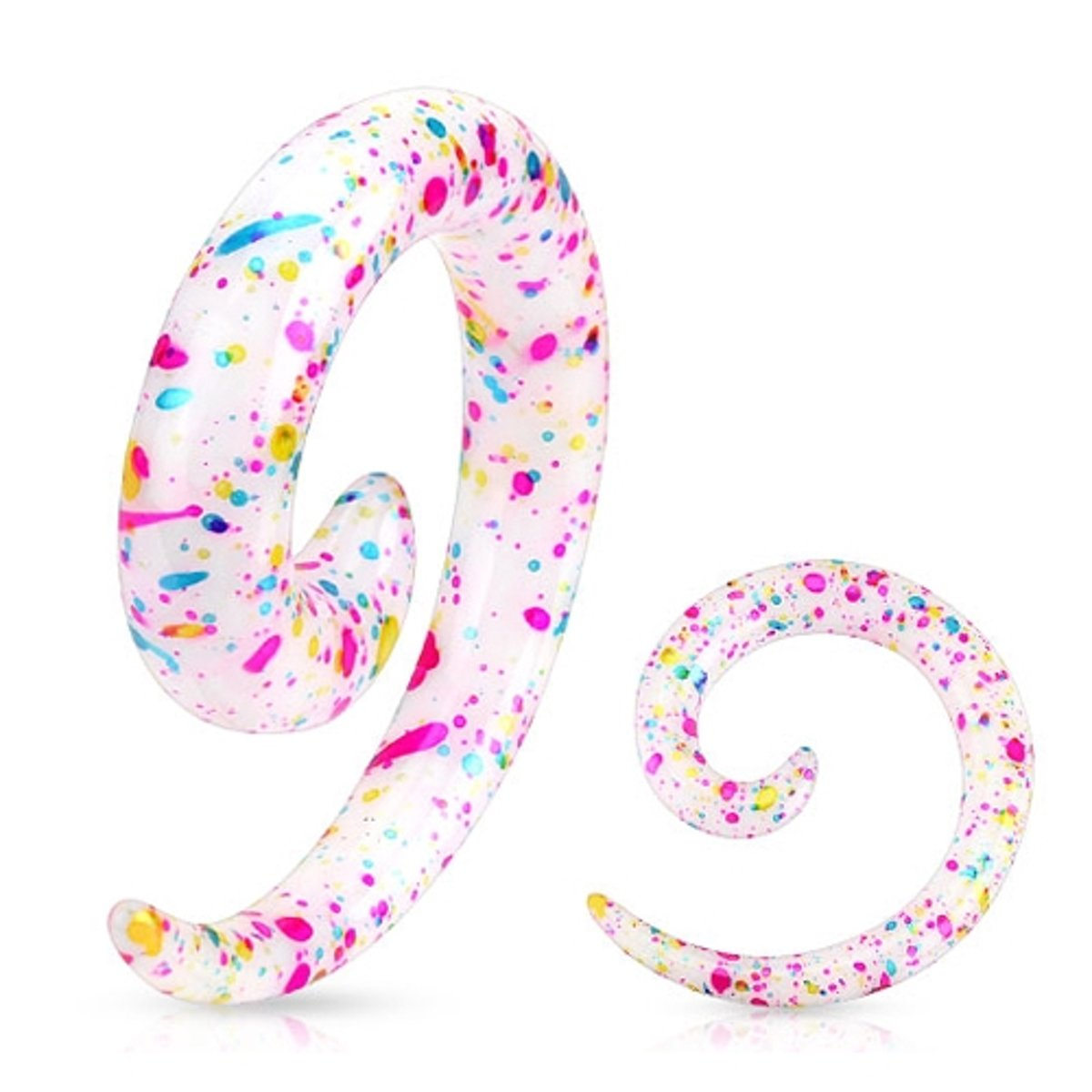 8 mm taper spiraal blauw, roze en gele spetters ©LMPiercings kopen