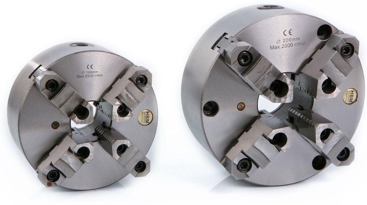 HBM 200 mm. Zelfcentrerende 4 Klauwplaat met Opzetbekken kopen