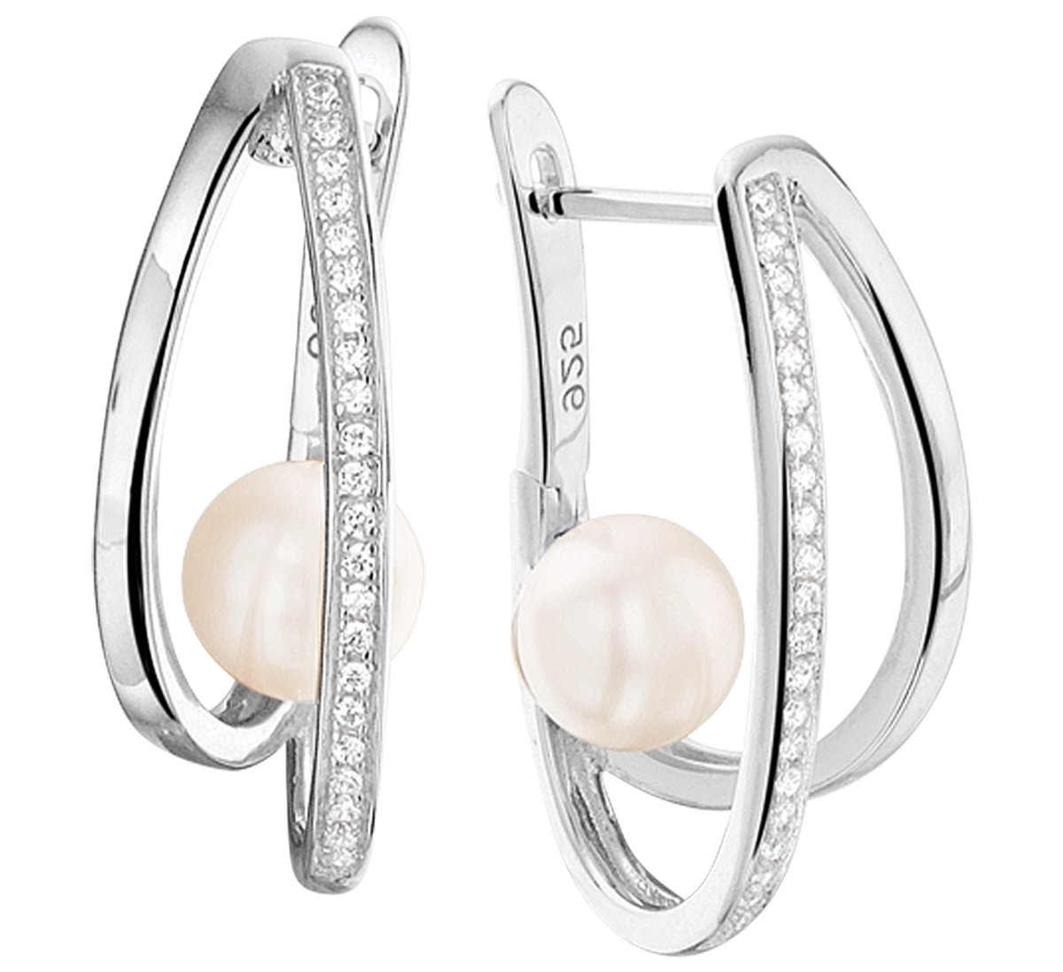 The Jewelry Collection Klapoorringen Parel En Zirkonia - Zilver kopen