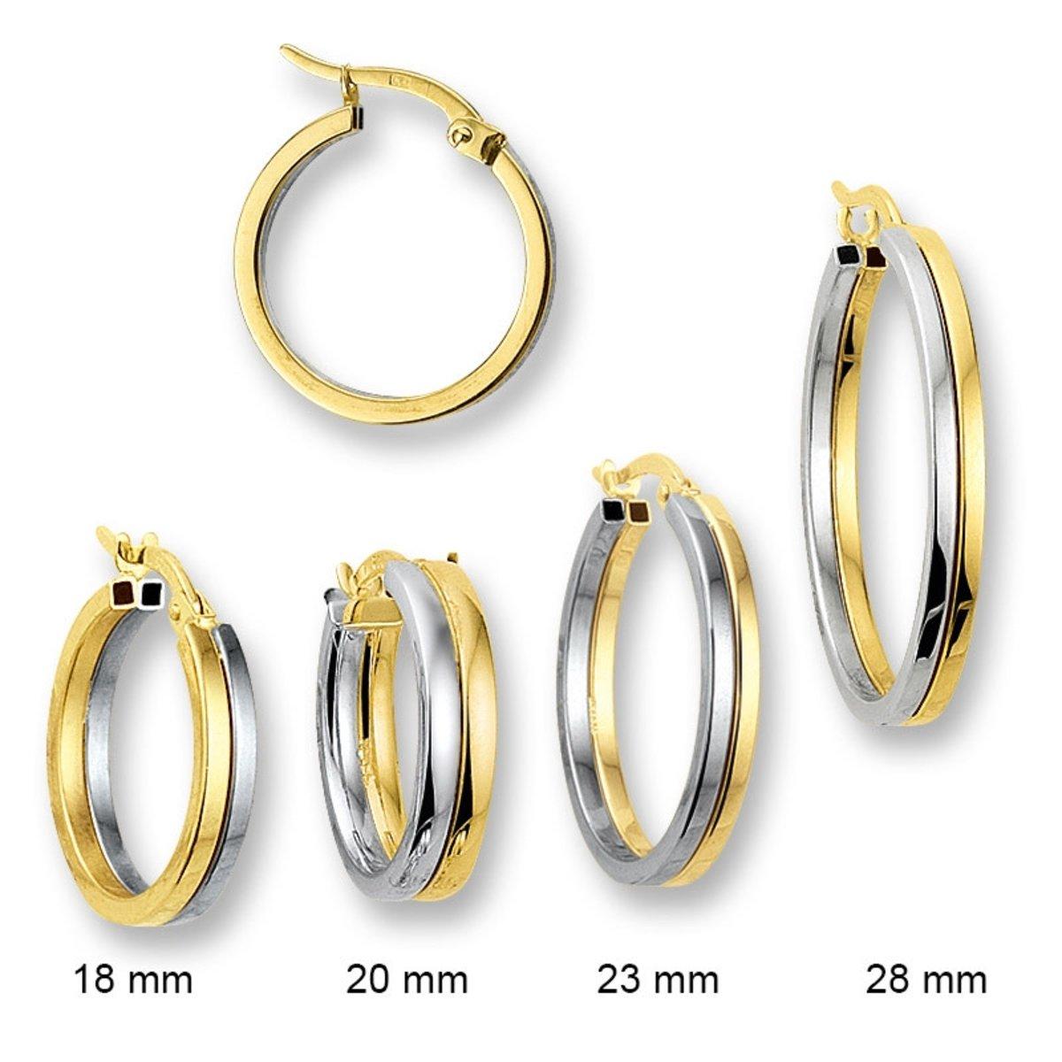 Huiscollectie 4204205 Bicolor gouden oorringen 18 - 28 mm kopen