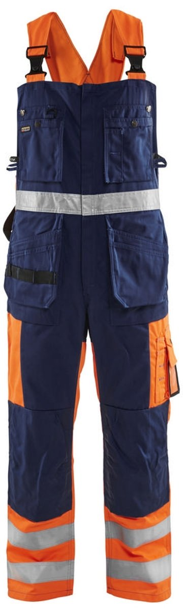 Blåkläder 2603-1860 Bretelbroek High Vis Oranje/Marineblauw maat 46 kopen