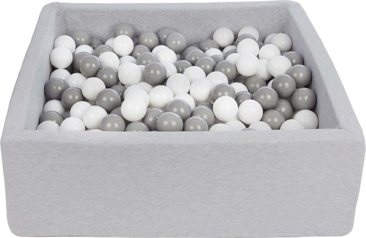 Ballenbak - stevige ballenbad - 90x90 cm - 450 ballen Ø 7 cm - wit, grijs.