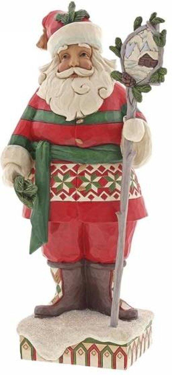 Jim Shore: Wonderland in de Wildernis (Bosrijke kerstman met stafscène) Beelden & Figuren kopen
