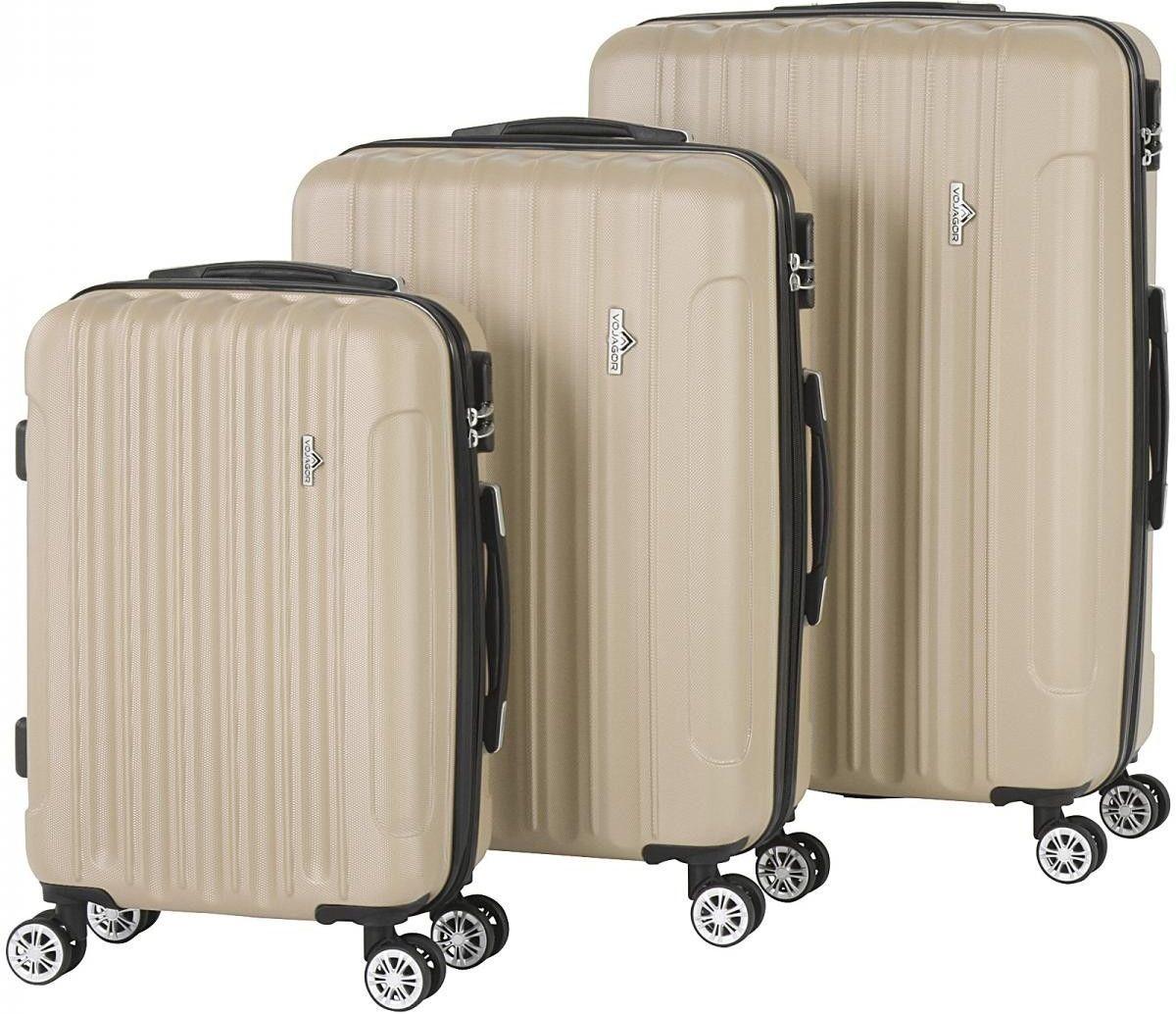 Kofferset, trolleyset, champagne, set van 3, 33-65-90 liter, hardschalen koffers, cijferslot, rolkoffers kopen