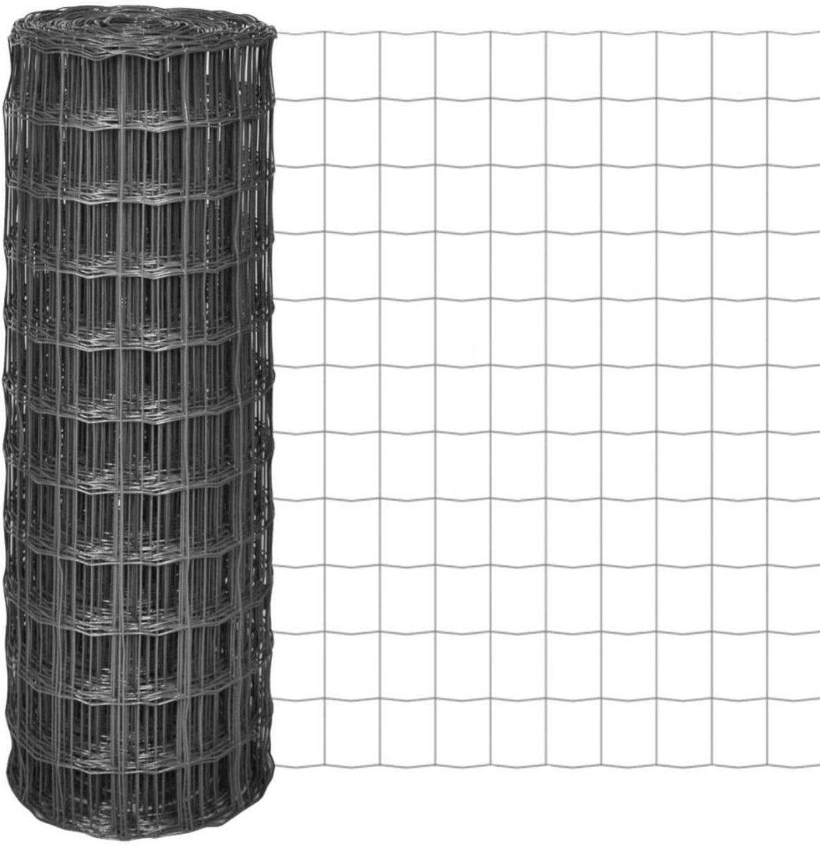 vidaXL Euro hek 10x1,5 m met 77x64 mm gaas staal grijs kopen