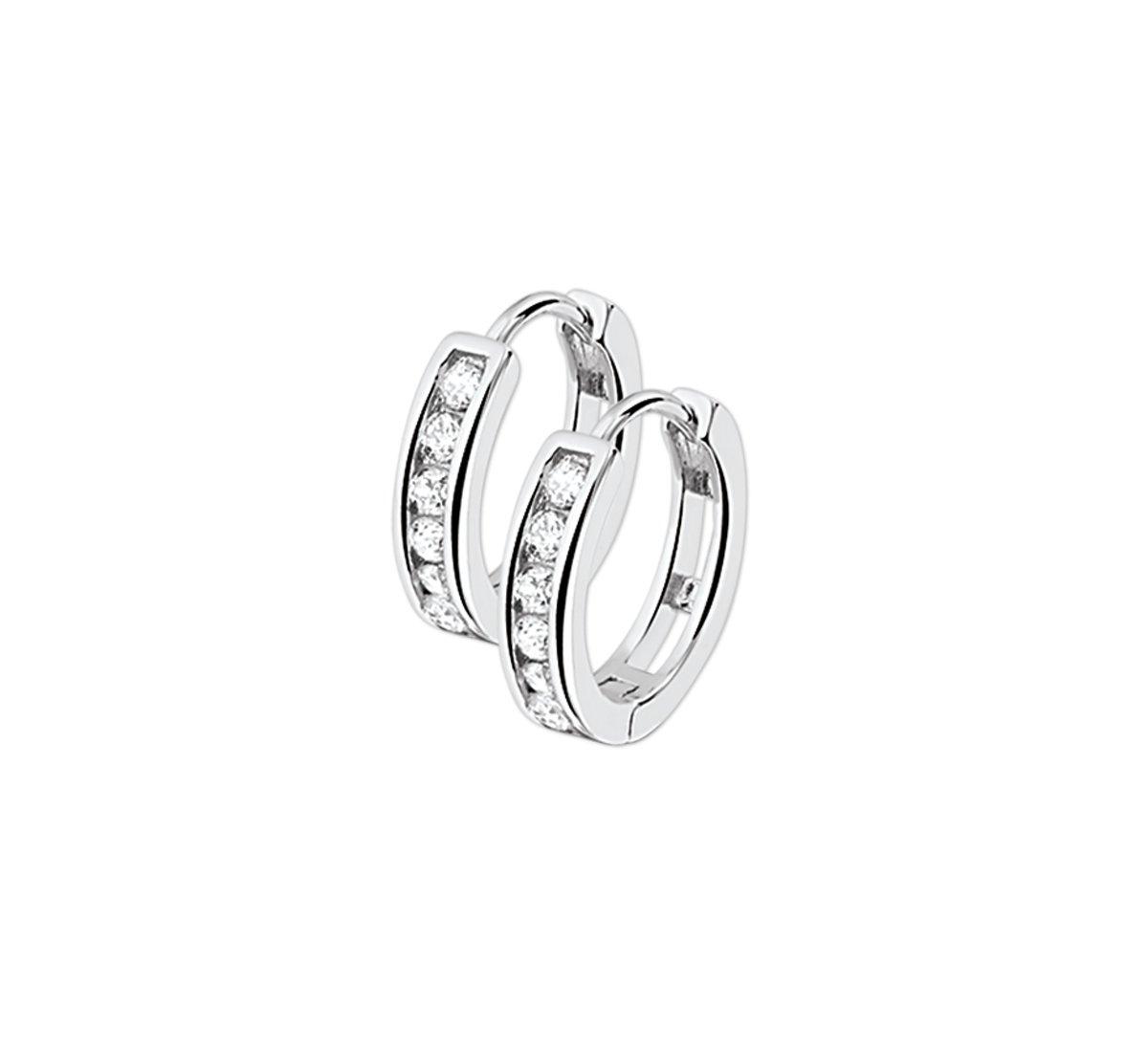 The Jewelry Collection Klapoorringen Zirkonia - Zilver kopen