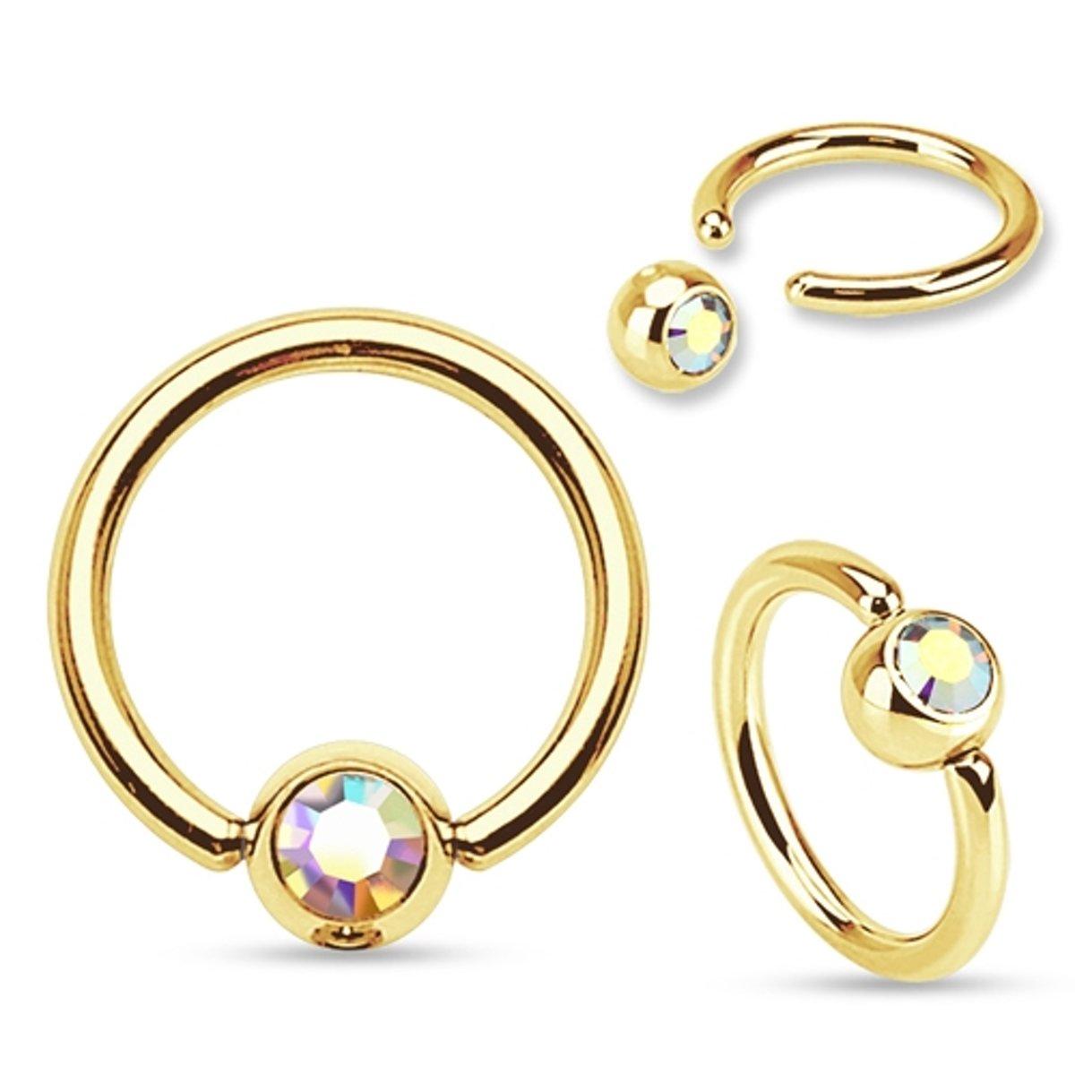 Septumpiercing ring gold plated multi kleur steentje ©LMPiercings kopen