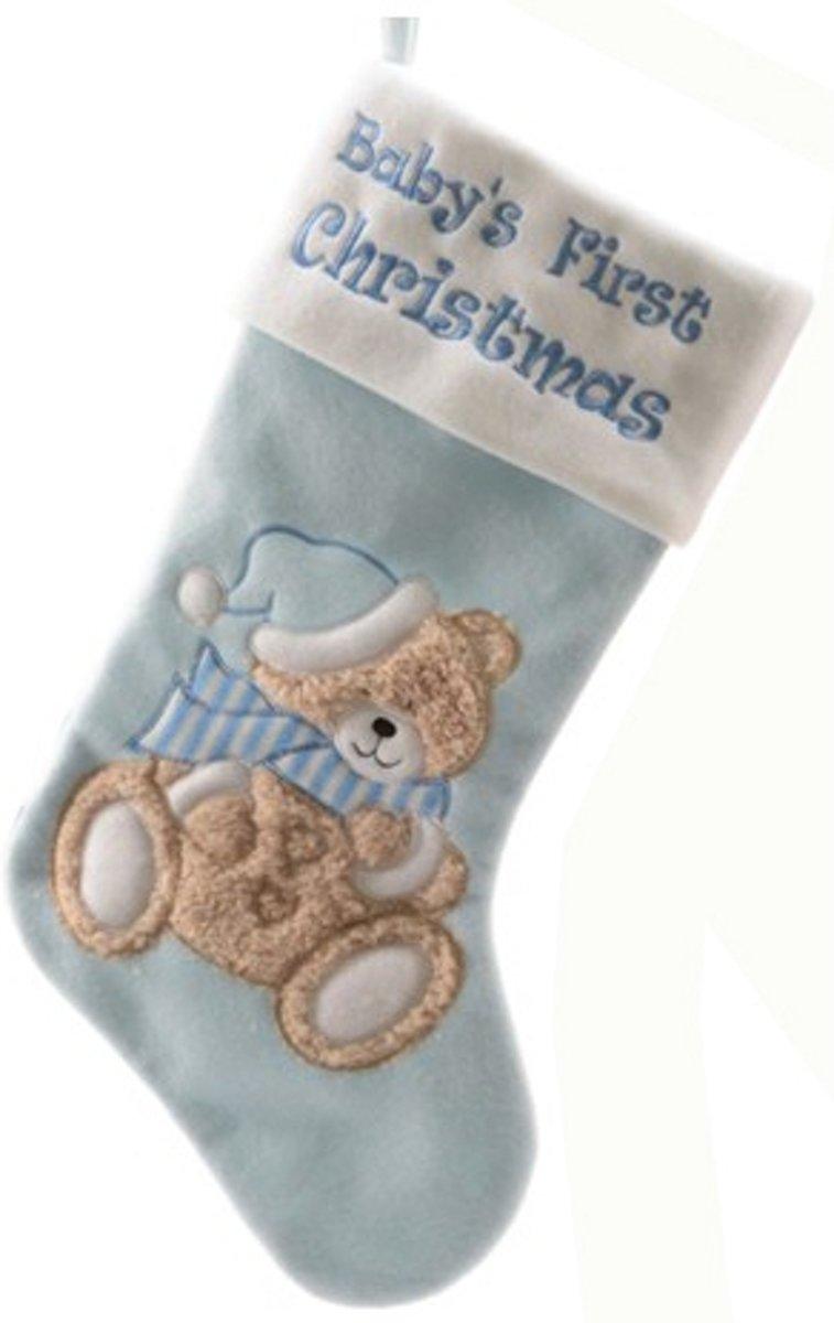 Baby kerstsok blauw 45 cm kopen