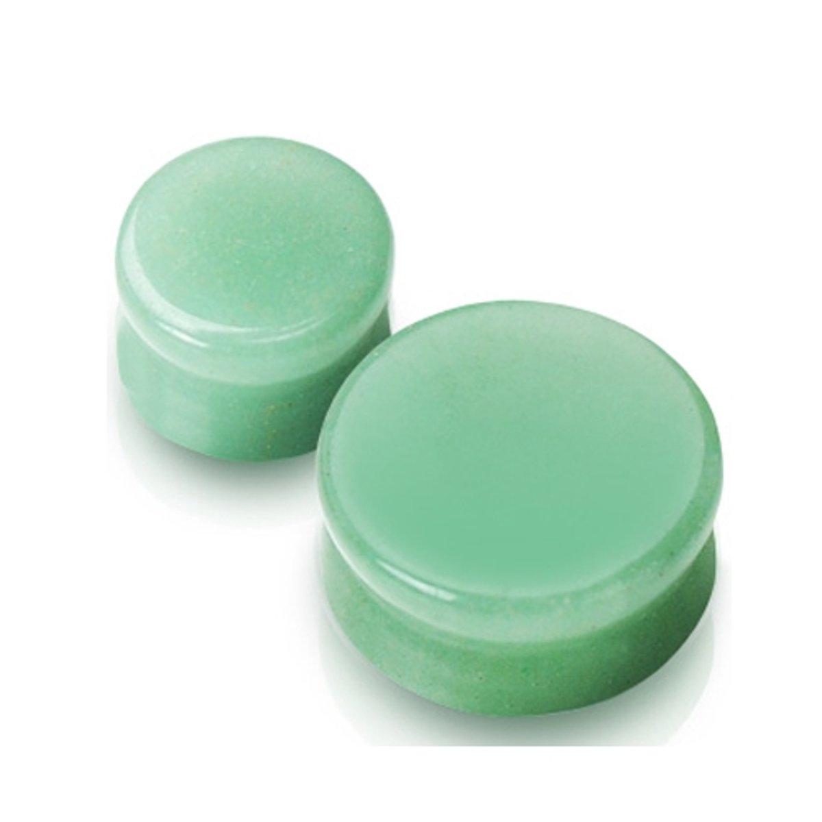 8 mm Double-flared plug Jade steen groen ©LMPiercings kopen