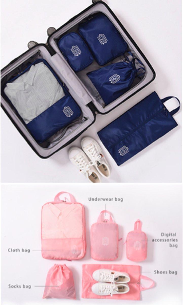 CoshX® packing cube set compression bags 5 delig blauw - reis organizer koffer / kleding  met 2 compressie tassen - reistassen set - packing cubes navy kopen