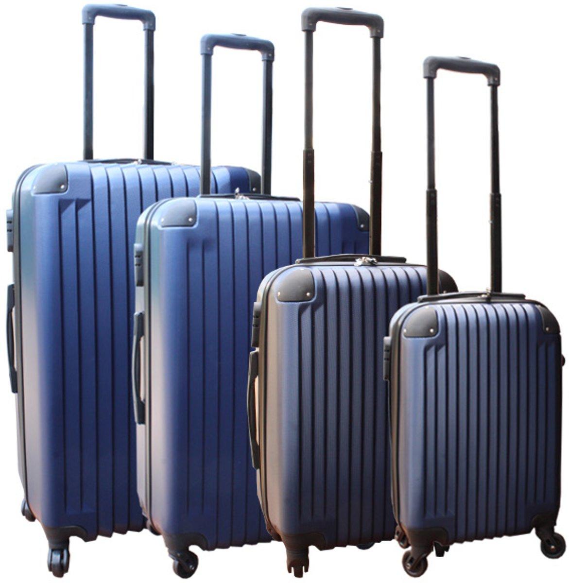 4 delige ABS lichtgewicht harde kofferset met cijferslot donker blauw kopen