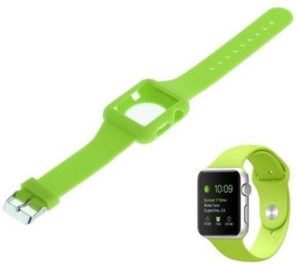 Silicon armband compatibel met Apple Watch 38mm Groen kopen