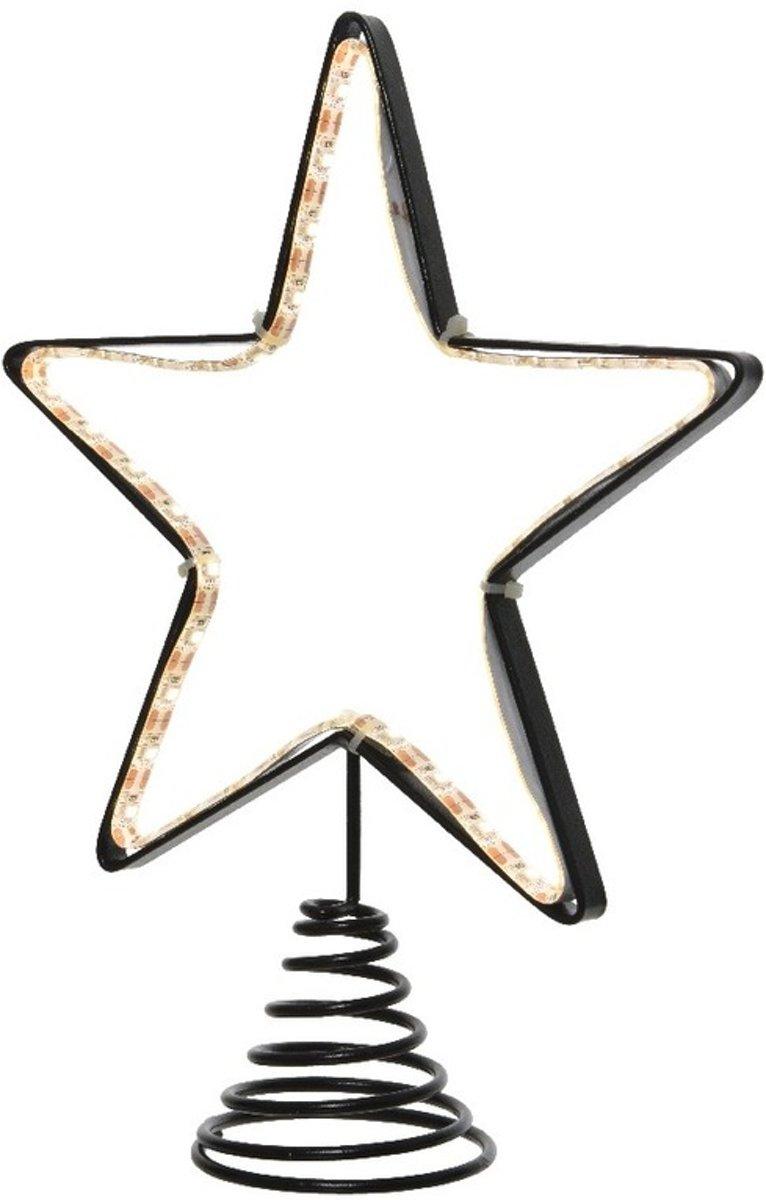 Metalen kerstboom piek met Led lampjes 22 cm kopen