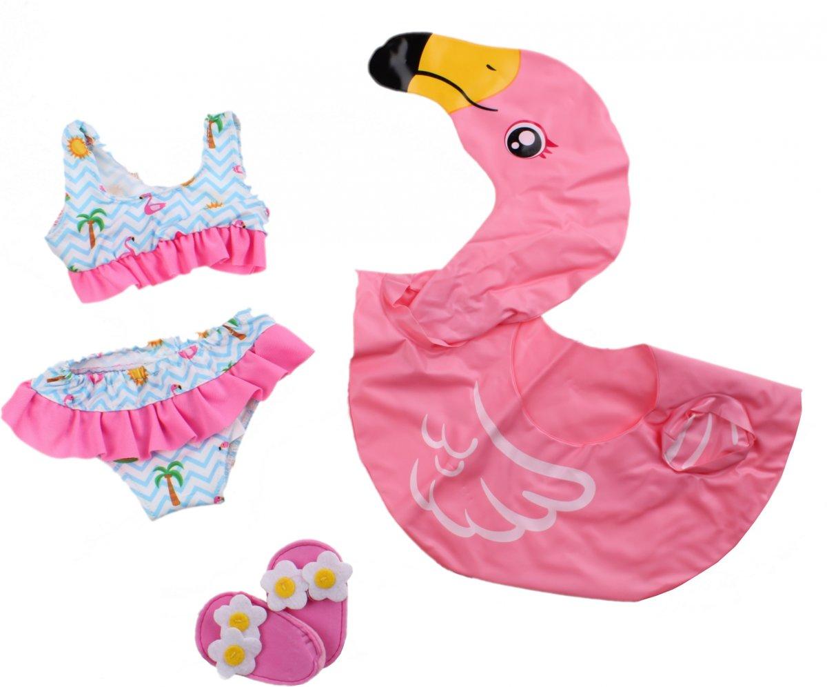 Poppen Zwemset Flamingo, 35-45 cm Afmeting verpakking: 34 x 20 x 3 cm, geschikt voor poppen van 35-45 cm