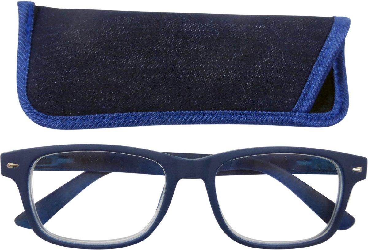 Lilly&June Leesbril Navy Blauw met Denim Stof +3 - Met Bijpassend Etui kopen