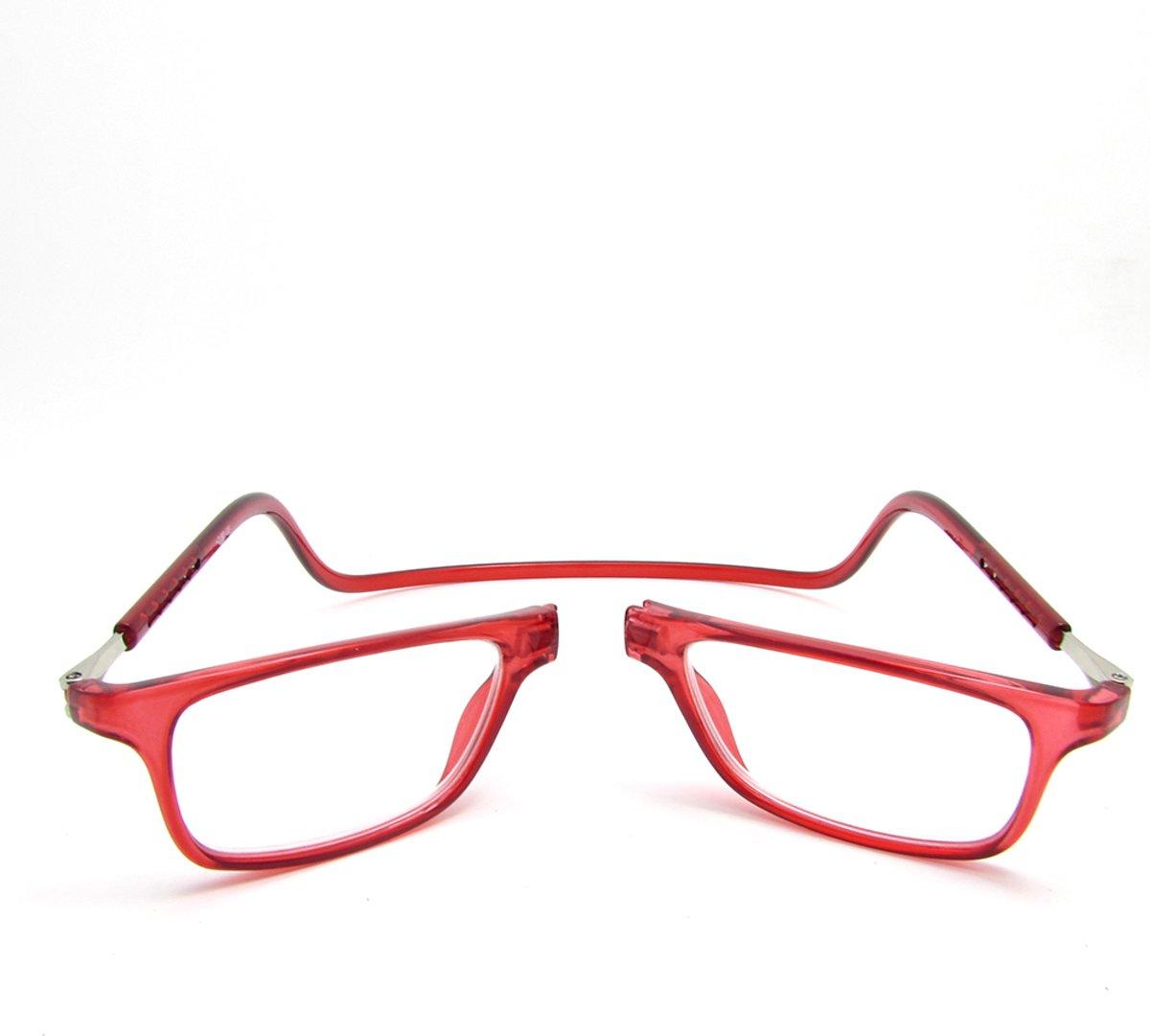 Magnetische leesbril - rood - sterkte +1,5 kopen