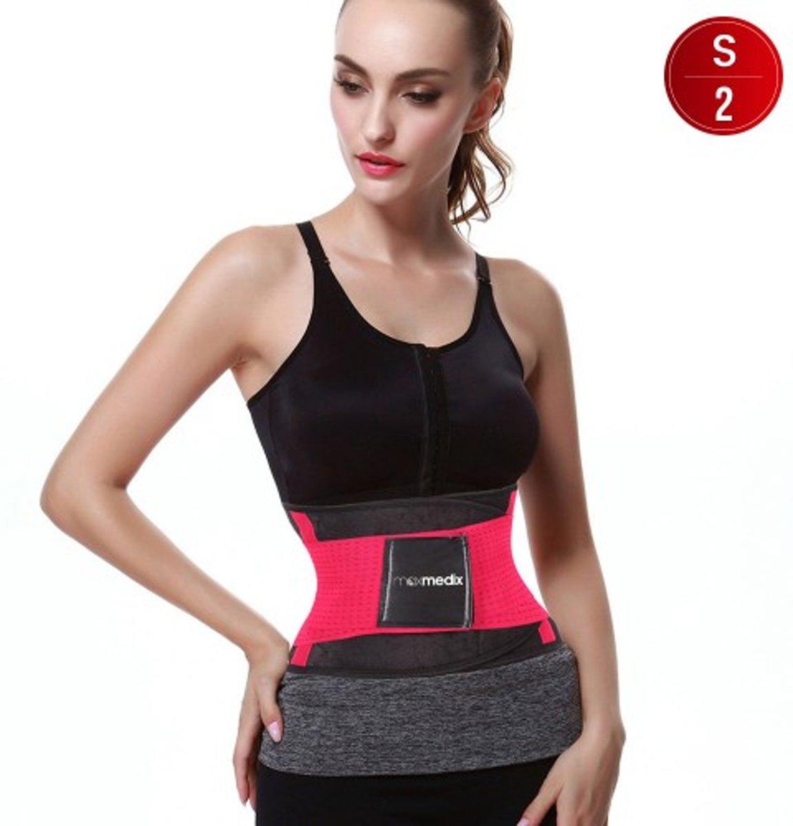Sweat Belt - Afslanken Band - Fitnesskleding - Roze - Small - Duo Verpakking kopen