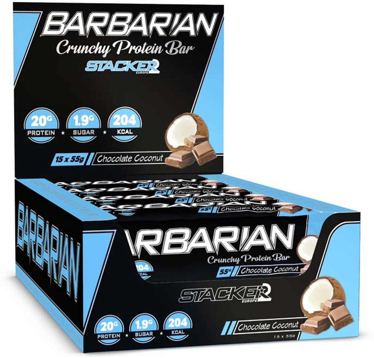 Barbarian - Chocolate Coconut [15 Crunchy Protein Bars] | Stacker2 Europe kopen