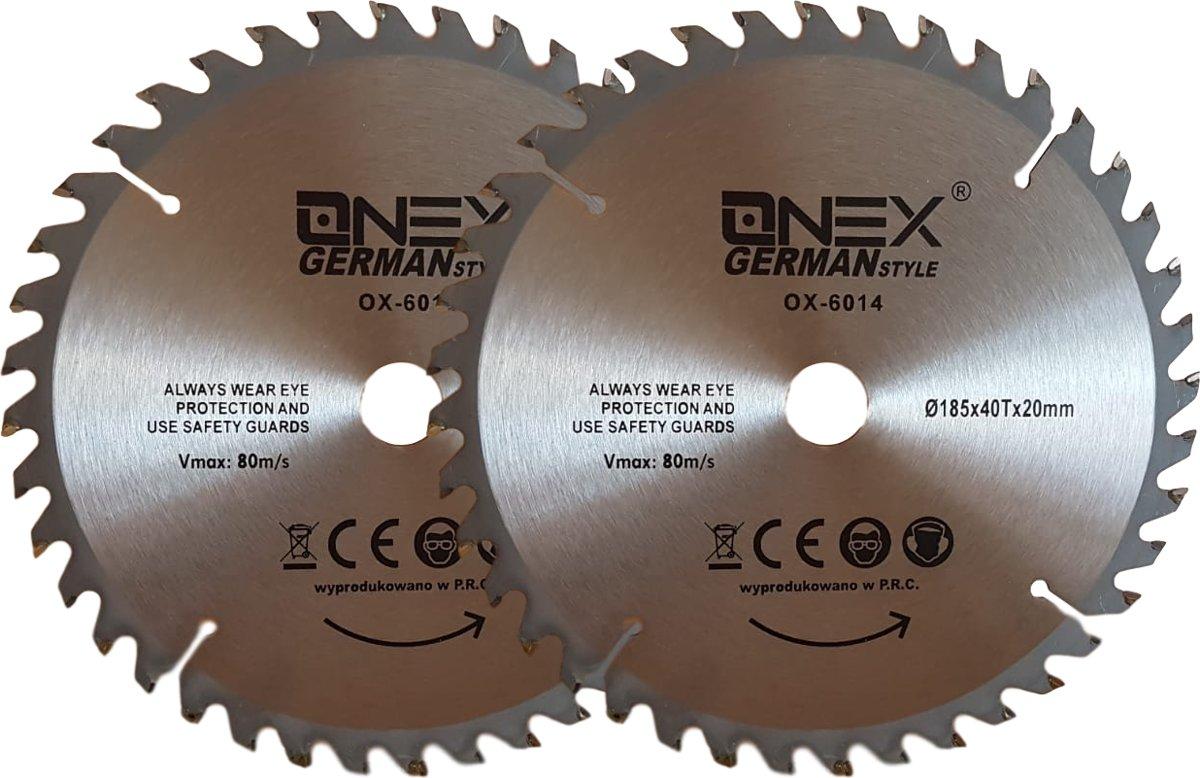 ONEX GERMANY OX-6014 Cirkelzaagblad voor hout 185 x 20, 40 tanden - 2 stuks