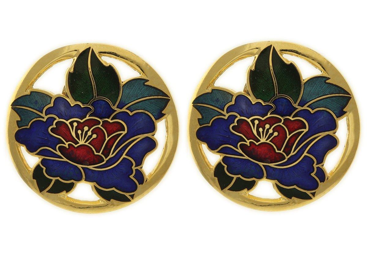 Behave® Clip oorbellen met blauwe bloem emaille kopen