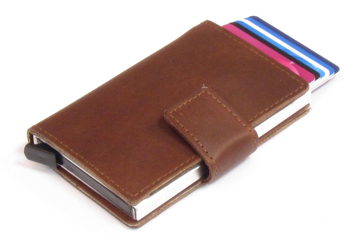 Figuretta-pasjeshouder- RFID- cardprotector -creditcardhouder-Leer - Extra slim - Brown kopen