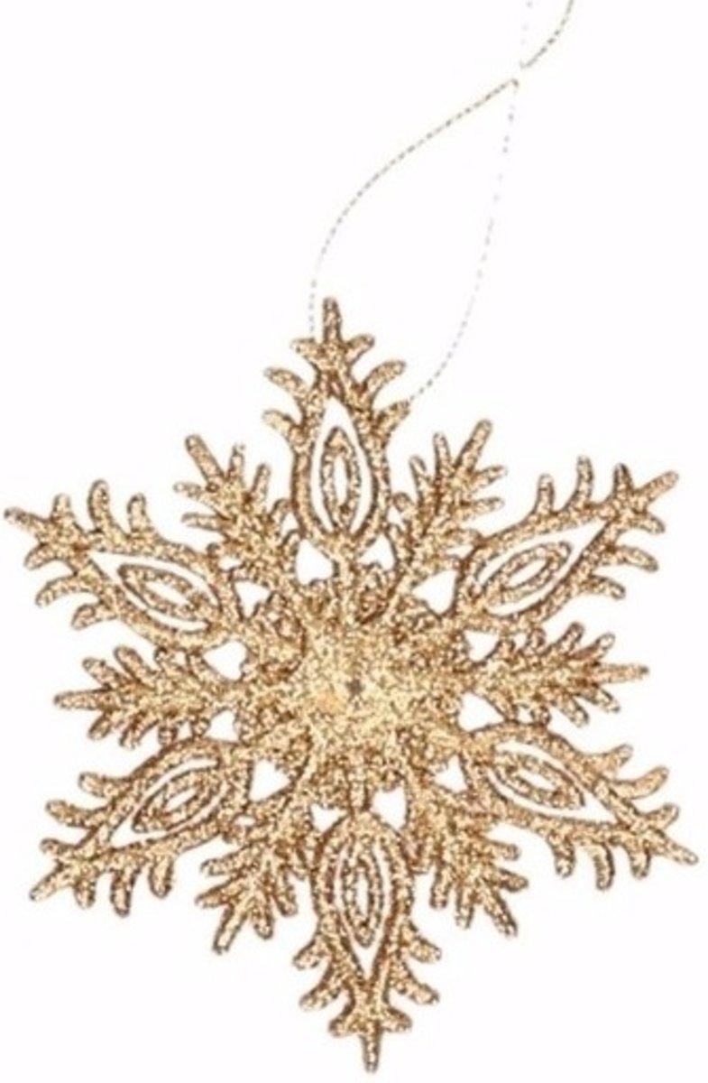 Kersthanger sneeuwvlok goud glitter type 3 - kerstversiering hanger kopen