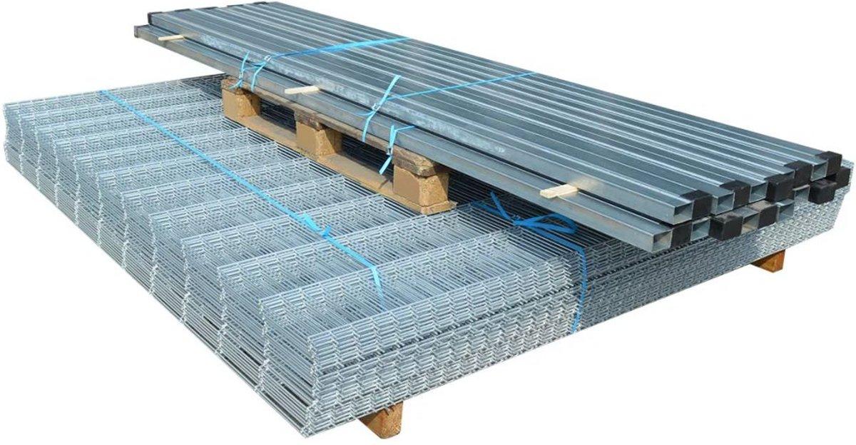vidaXL Dubbelstaafmat 2008 x 1630 mm 40 m zilver 20 stuks kopen