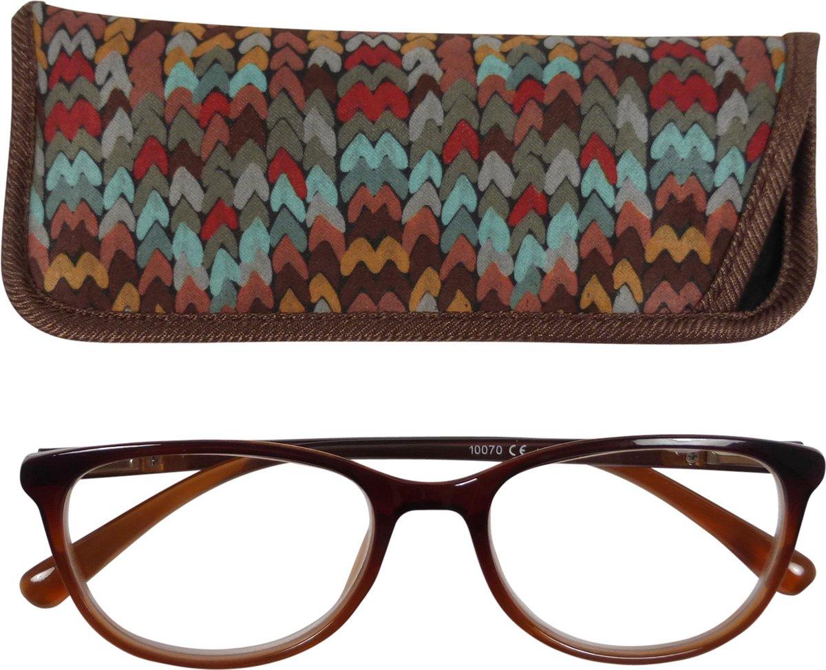 Lilly&june Leesbril Aflopend Bruin +2.75 - Met Bijpassend Etui kopen