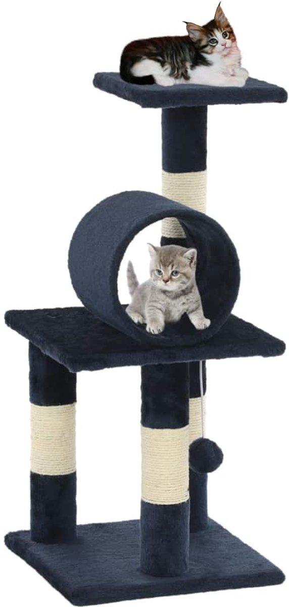 vidaXL Kattenkrabpaal met sisal krabpalen 65 cm donkerblauw